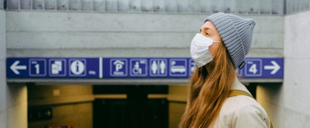 Female student wearing a mask